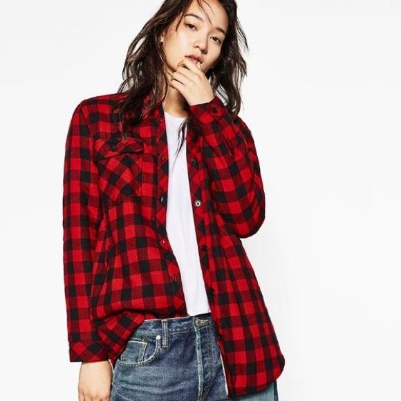 Zara Tops - HOST PICK Zara Buffalo Plaid Distressed Shirt